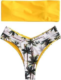Bikinis Mujer, ZODOF Bikini Acolchado de Color Liso para Mujer Dos Piezas Traje De Baño Push Up Tanga de Cintura Alta Bikinis Brasileños para Playa de Verano