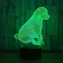 JYHW 3D visuele creatieve 7 kleurrijke leuke hond nachtlampje LED dier bureaulamp USB touch lamp voor woonkamer decor