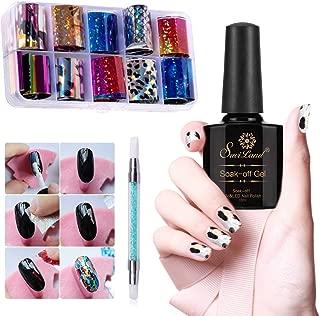 10 Rolls Glitter Nail Transfer Foils+Glue + Pen, Saviland Nail Foils Flakes Wraps Nail Art Decoration Manicure Sticker