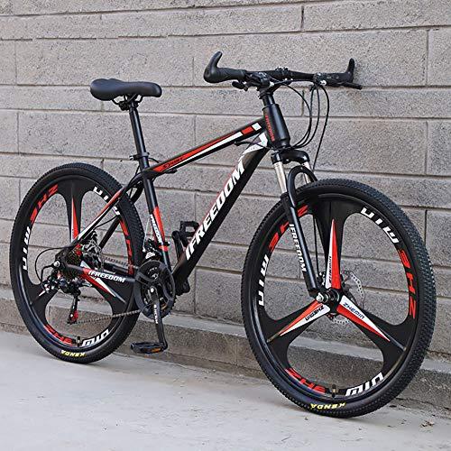 Shimanos 21 Speed Bicycle Full Suspension MTB Bikes,Folding Mountain Bike,High Carbon Steel City Bicycle Dual Disc-Brake for Men Women Black/red 26',30 Speed