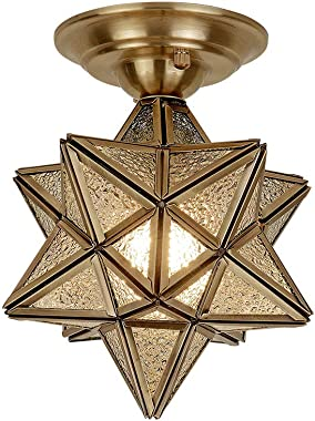 Brass Moravian Star with Seeded Glass Shade Industrial Ceiling Light,Copper Flush Mount Ceiling Light Fixture for Indoor Corridor Aisle Staircase Entrance Study Room(Seeded Glass-B)