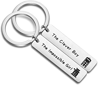 ENSIANTH Doctor Who Inspired Clara and The 11th Doctor Gift The Clever Boy & The Impossible Girl Keychain Set