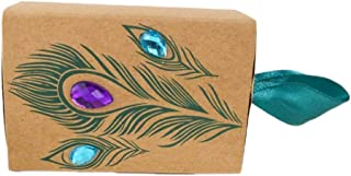 Outflower 100pcs Kraft Paper Peacock Candy Gift Boxes with Ribbons for Wedding