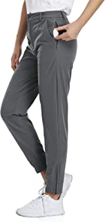 Viracy Womens Golf Pants Stretch Lightweight Quick Dry Waterproof Pants for Hiking or Work with Zipper Pockets