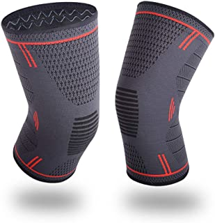 Knee Compression Sleeve, BEYONG Knee Brace for Arthritis, Meniscus Tear, Injury Recovery, Knee Support for Running, Crossfit, Basketball, 1 Pair Pain Relief for Men Women (Red, M)