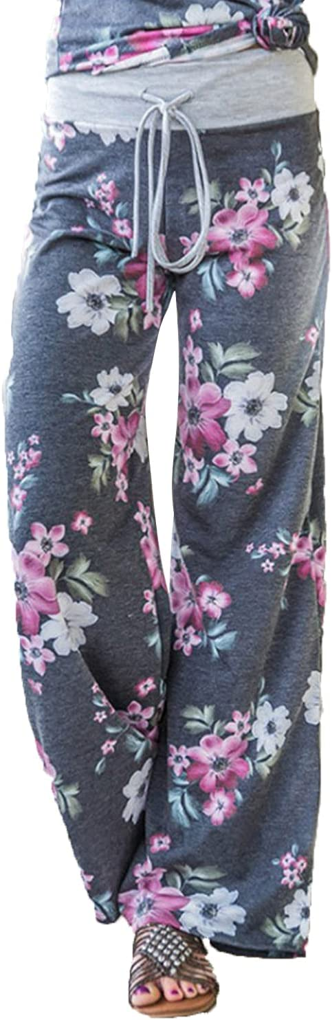 Women's Printed Wide-Leg Pants Comfy Stretch Floral Print Drawstring Lounge Trousers Casual Stretchy Casualpants (Small,Grey 3)