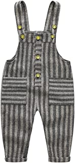 Toddlers Boys Girls Knit Stripe Plaid Pattern Overall Suspender Long Pants Size 90 (Stripe)