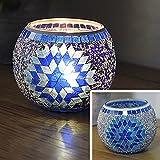 JEssie vaso candelero de cristal Lámpara de mesa de titular de vela electrónica para pub/decoración del hogar con diferentes diseños de patrón para elegir 105x80mm 70mm (Y)