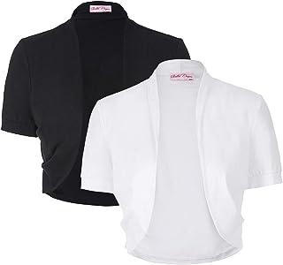 Women's Short Sleeve Shrug Open Front Cotton Cardigan...