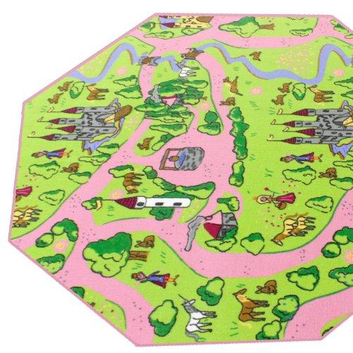HEVO Märchenland Mädchen Teppich   Spielteppich   Kinderteppich 200 cm Achteck Oeko-Tex 100