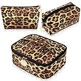 3 Pieces Leopard Print Cosmetic Bag Set Cheetah Toiletry Travel Makeup Bag Portable Makeup Pouch Brush Organizer Purse Handbag for Women
