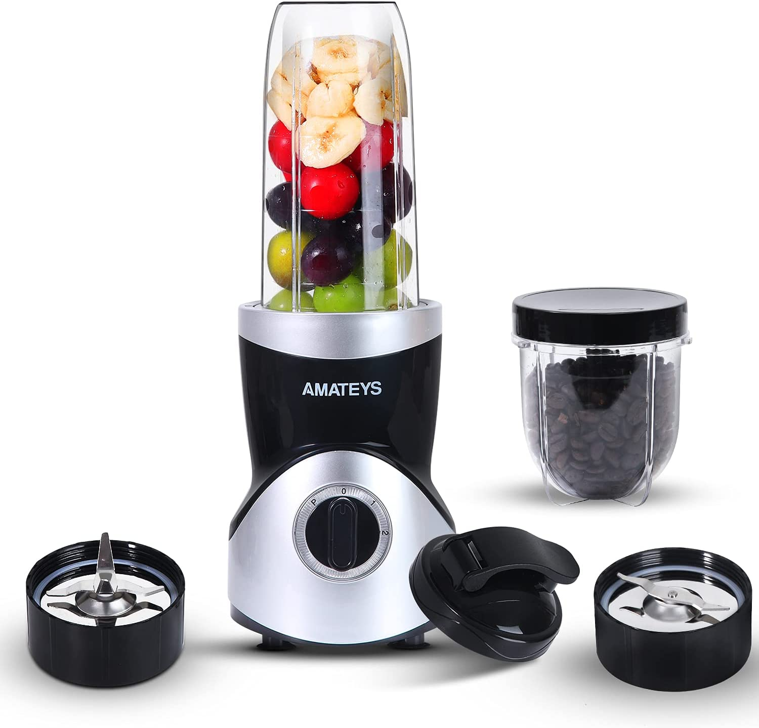 Personal Blender for Shakes and Smoothies 350 Watts, Professional Kitchen Blender Set with Blending & Grinding Blades, Portable Coffee Grinder with 10oz + 24oz Travel Bottles and Lids, 2 Speeds with Pulse Function Juice Blender AMATEYS