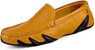 Termee Lazy Loafer Shoes Slip On Cutout Leather Men Moccasins Cozy Boat Driving Shoes