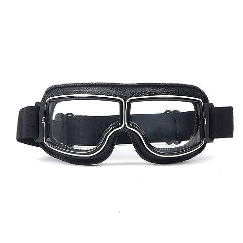 a074b46b4e LEAGUE&CO Gafas de Moto Retro Vintage Gafas de Protección Gafas Piloto Gafas  de Aviador, Gafas