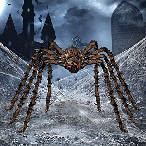 HBlife 6.6FT Giant Hairy Spider Halloween Decorations Furry Scary Virtual Realistic Decor for Outdoor Party Yard, Gold