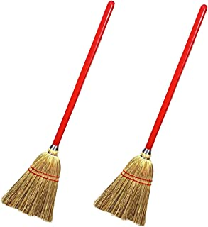 """Rocky Mountain Goods Small Broom for Kids and Toddlers - Solid wood handle with 100% natural broom corn bristles - Ideal kids size 34"""" - Heavy duty durability - Toy broom (2)"""