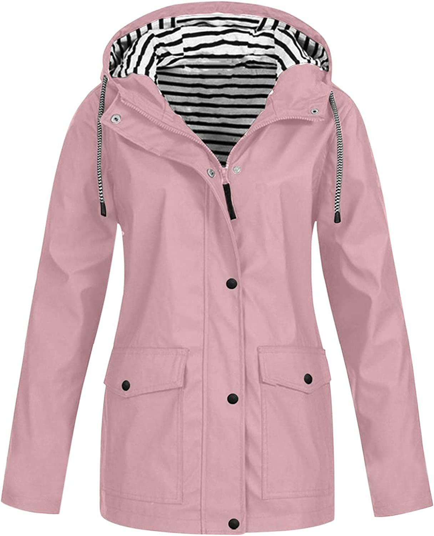 Women Windbreaker Striped Climbing Raincoats Waterproof Lightweight Rain Jacket Active Outdoor Hooded Trench Coats