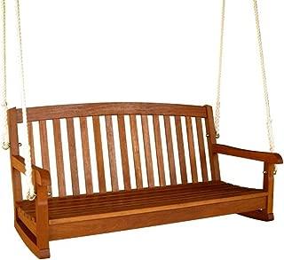 International Caravan Furniture Piece Royal Tahiti Curved Back Wood Two Seated Swing