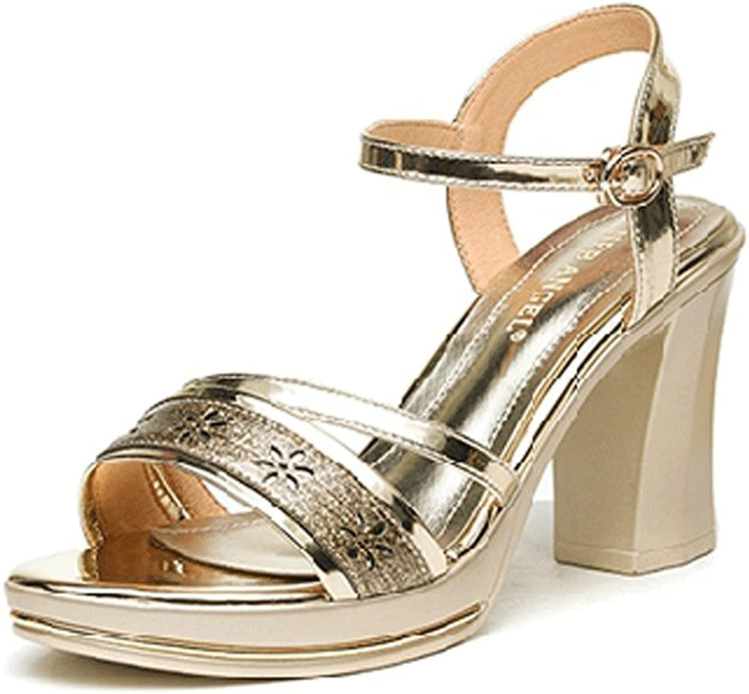 WANGXIAOLIN Middle-Aged Female Sandals High-Heeled Lady Buckle Sandals golden Black (color   gold, Size   36)