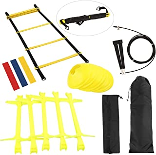KIKILIVE Speed Agility Ladder Training Set, Exercise Equipment Kit for Soccer/Football- Agility Ladder, Adjustable Hurdles, Resistance Bands, Sports Cones, Jump Rope, Carrying Bag