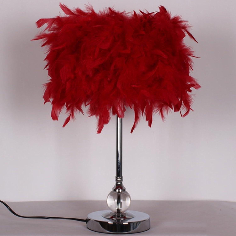 JIA JIA HOME-Kreative Dekoration Tischlampen European Style Moderne einfache Romantische Schlafzimmer Nachttischlampe Warm-Feder-Tischlampe Kreative Mode Verheiratet Raum Hochzeitskristallschreibtisch
