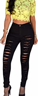 Women's High Waisted Skinny Destroyed Ripped Hole Denim Pants Long Stretch Pencil Jeans