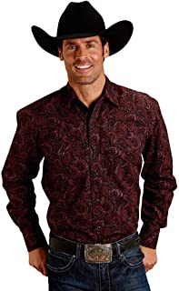 Mens Wine 100% Cotton Paisley L/S Shirt