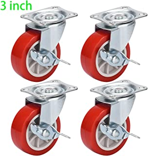 DICASAL 3 Inch Durable Heavy Duty Casters Wear Resistant Red PVC Material Swivel Wheels Castors for Furniture Carts and DIY Tools 4 Pack (Plate Wheels)