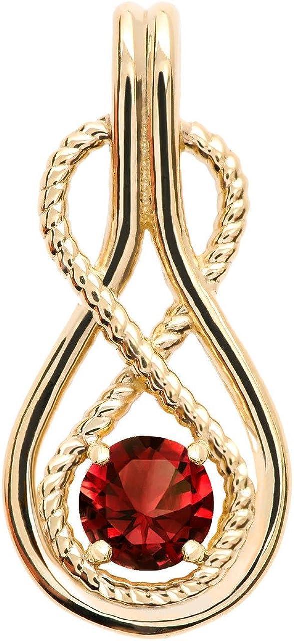 Infinity Rope January Birthstone Garnet 14k Yellow Gold Pendant