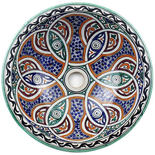 Casa Moro Mediterranes Keramik-Waschbecken Fes125 rund Ø 35cm bunt H 14cm handbemalt | Marokkanisches Handwaschbecken für Bad Gäste-WC | Einfach schöner Wohnen | WB35125