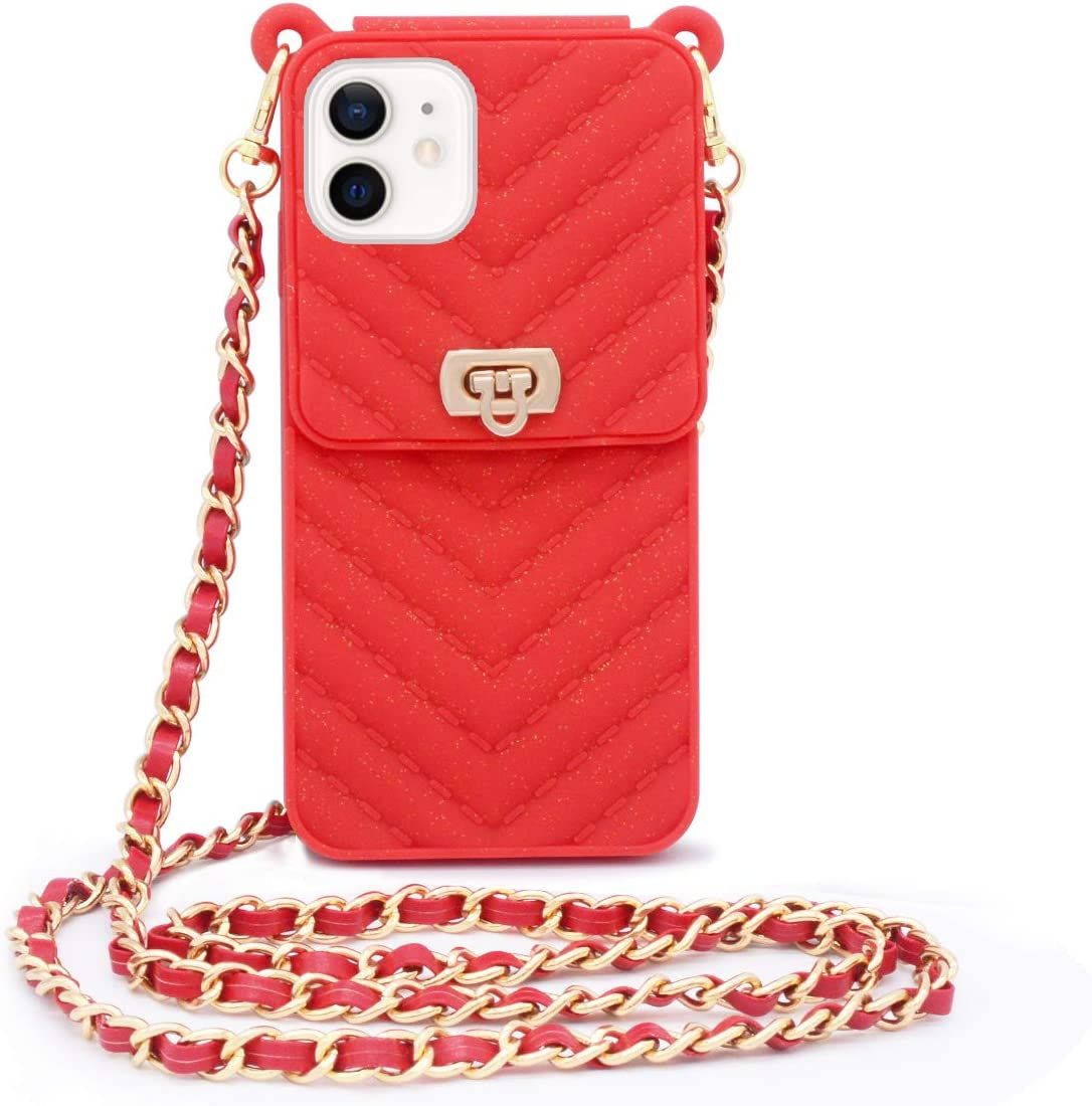 LUVI Compatible with iPhone 12 Wallet Case with Crossbody Strap Lanyard Neck Strap Credit Card Holder with Purse Handbag Shoulder Strap Silicone Rubber Soft Protection Cover 6.1 inch Red