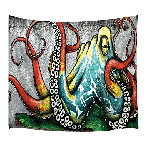 JAWO Rustic Home Decor Tapestry Wall Hanging, Color Graffiti Octopus on Wall Urban Street Art Spray Paint, Polyester Fabric Wall Tapestry Home Living Room Bedroom Dorm Decor 80W X 60L Inches