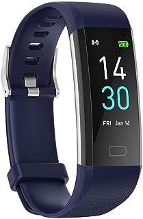 YP Pulsera de medición de Temperatura,Pulsera Actividad con Pulsómetro Mujer Hombre,Monitor Actividad Deportiva,Ritmo Cardíaco,Impermeable IP68,smartwatch con Podómetro,Azul