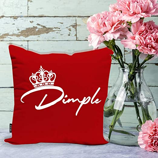 Gifts Zone Dimple Name Beautiful Red Cushion Cover