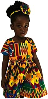 Gallity Baby Dress,Toddler Kids Baby Girl African Bohemian Ethnic Print Short Sleeve Princess Dress Casual Dress Outfits (18-24 Months, Multicolor)