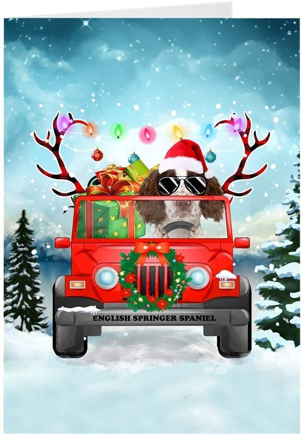 English Limited price sale Springer Spaniel Dog Driving Christmas Vehicle a SEAL limited product Christ