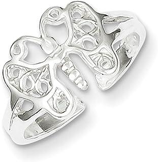 Lex & Lu Sterling Silver Butterfly Toe Ring