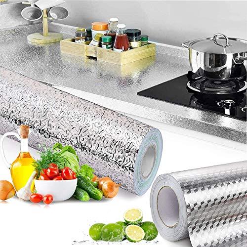 Papel De Aluminio Adhesivo Para Cocina, Senteen 2 Pcs 3M Pegatinas De Cocina Autoadhesivo Papel Pintado De Cocinas Impermeables Para Hogar De Gabinete Azulejo Pared Cajón Baño