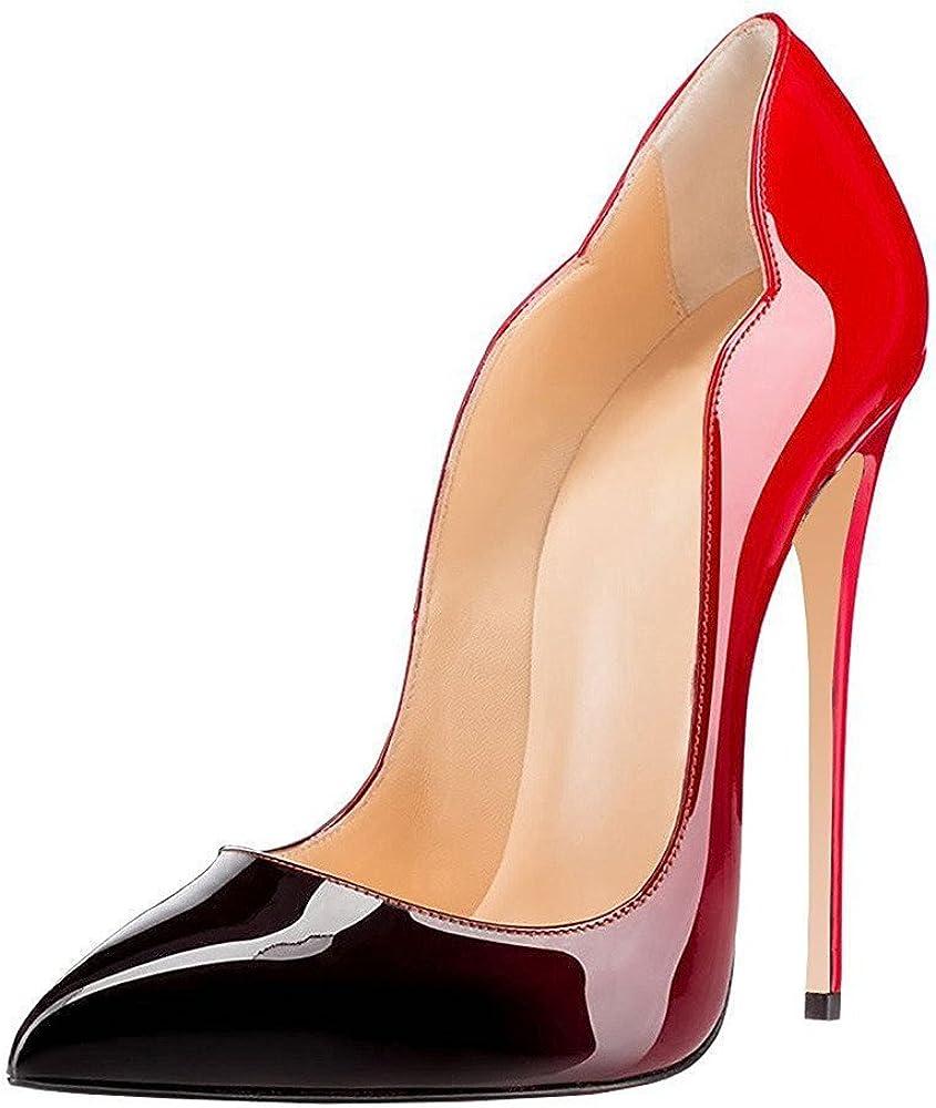 edefs , scarpe col tacco a spillo per donna , in pelle sintetica eeit033-12cm leopard-eu