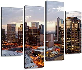 Phoenix Downtown Dusk Lights Canvas Print Artwork Wall Art Pictures Framed Digital Print Abstract Painting Room Home Offic...