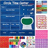 INDRAK Circle Time Center Pocket Chart Calendar-Educational Pocket Chart Learning Shape - Color Classroom Pocket Chart-Number Pocket Chart Wording Rhyme Pictures Pocket Chart 39' x 40.9'