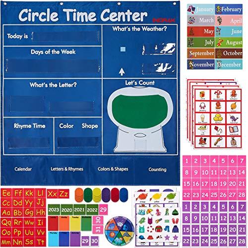 "INDRAK Circle Time Center Pocket Chart Calendar-Educational Pocket Chart Learning Shape - Color Classroom Pocket Chart-Number Pocket Chart Wording Rhyme Pictures Pocket Chart 39"" x 40.9"""