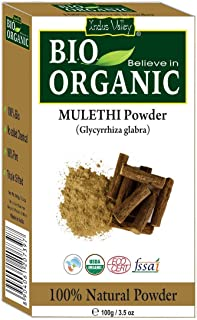 Indus Valley BIO Organic 100% Pure and Natural Mulethi Licorice Root Powder for Skin Whitening and for Hair USDA Organic C...