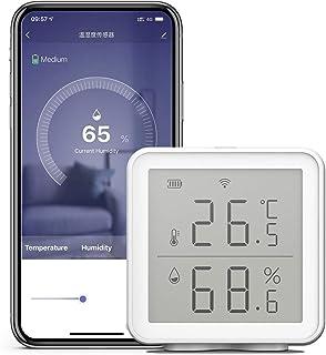 Leeofty Thermometer en hygrometer, draadloos, wifi smart temperatuur-vochtigheidssensor, compatibel met Alexa 230ft ultral...