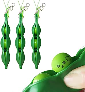 ANNA Unpack the toy- 3 pcs Fidget Bean Toy Set Edamame Soybean Keychain, Anxiety Stress Relief ADHD Toy Keychain Extrusion...