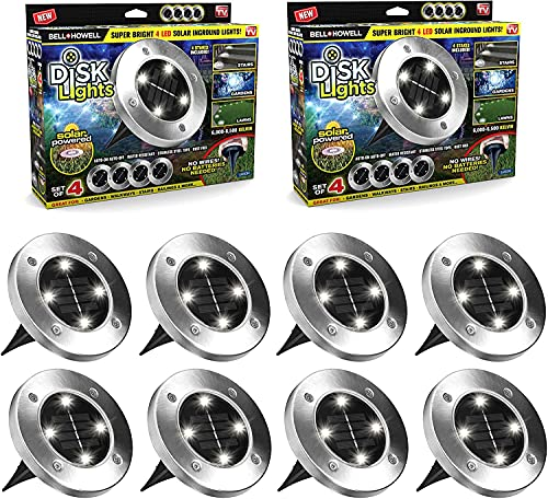Solar Disk Lights by Bell+Howell Automatic Outdoor Lighting, Super Bright LED Bulbs, Waterproof Rust-Free Stainless Steel Tops Great for Landscaping, Garden, Pathway As Seen On TV (Set of 8 Regular)