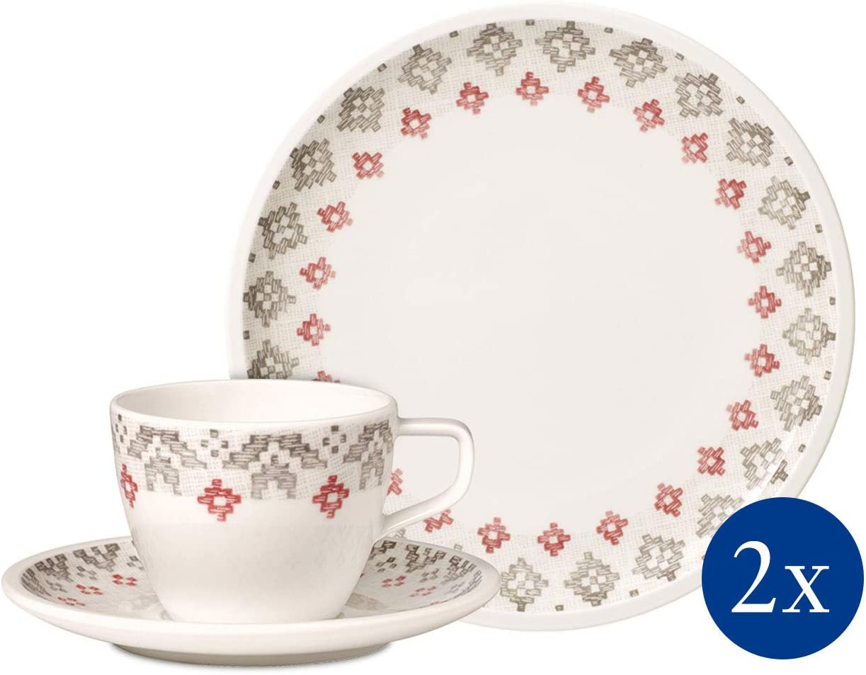 Villeroy /& Boch Group Artesano Nature Bleu Set de desayuno para dos de 6 piezas Azul Porcelana Premium