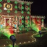 Luces de Navidad, proyector decorativo LED, para jardín exterior, verde, con abetos y puntos rojos y verdes, para...