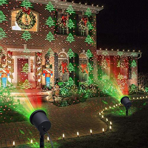 Luci di Natale, proiettore decorativo a LED, da giardino, per esterni, con albero verde e rosso a pois, per Natale, San Valentino, compleanno, matrimonio, serata, compleanno dei bambini