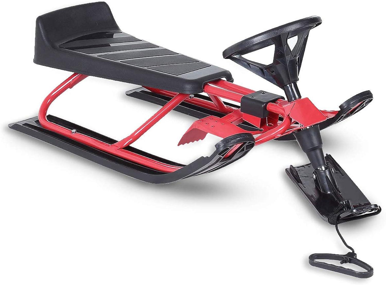 SAMAX Snow Racer Steering Wheel Sled Sledge Kids Snowmobile Winter Outdoor Brakes Bob  Red Black